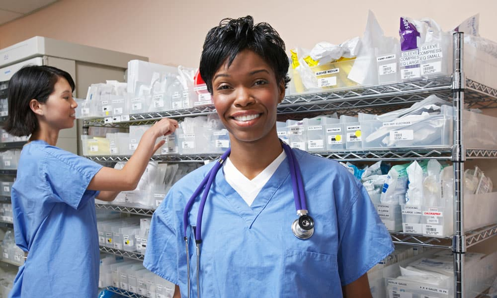 Hospital employees using using RAIN-RFID to make sure the hospital inventory is correct