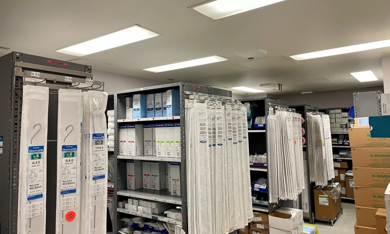 RFID antennas in hospital supply room